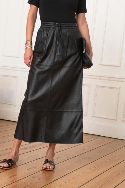 Longue jupe droite en cuir véritable