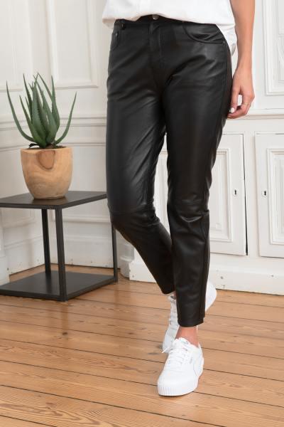 Hose mit geradem Bein aus echtem Leder