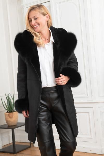 Manteau en agneau lainé 7/8 femme noir