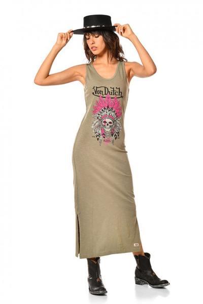 Langes khakifarbenes Kleid für Frauen
