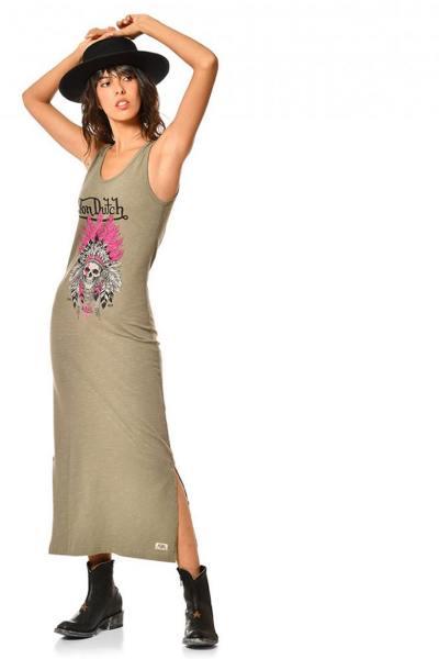 Longue robe femme kaki