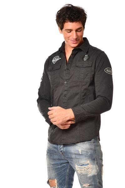 Chemise noire homme avec patchs