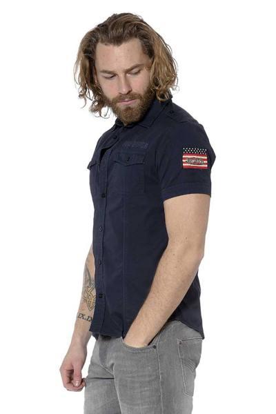 Chemise manches courtes bleue marine