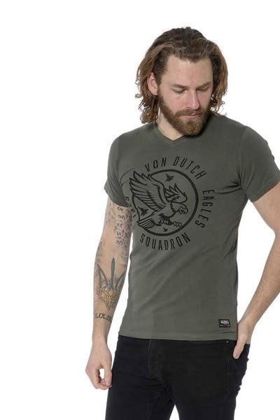 T-shirt col V kaki