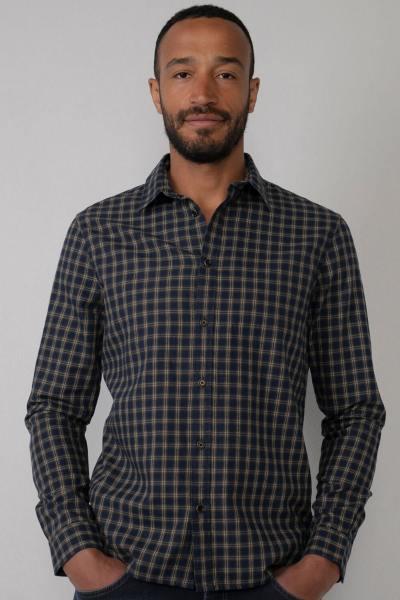 Chemise à carreaux all-over noire