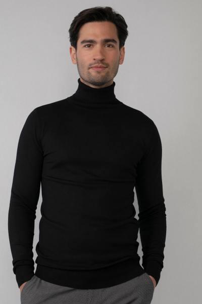Schwarzer Rollkragenpullover für Männer