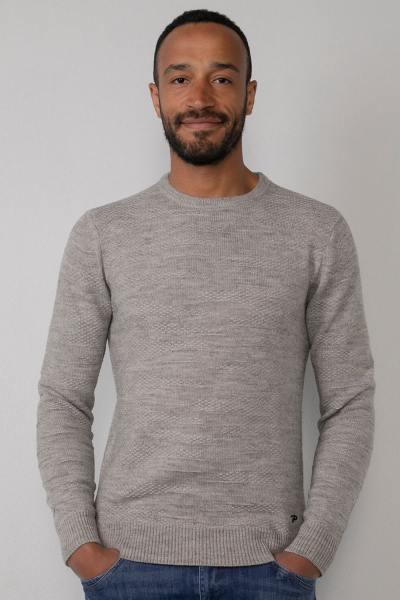 Hellgrauer Pullover aus Acryl und Wolle