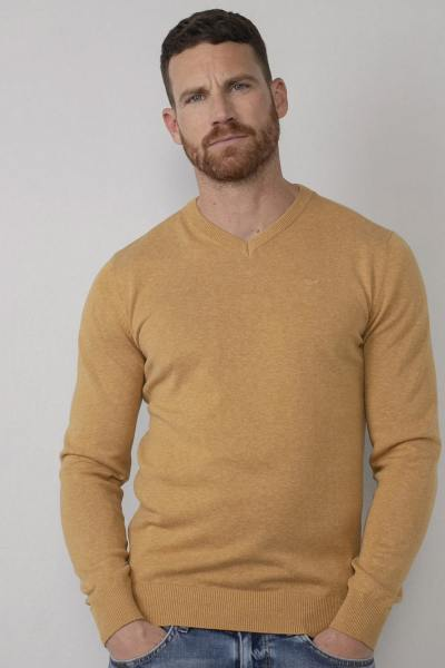 Herren Pullover mit V-Ausschnitt hellgelb
