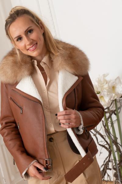 Blouson luxe en peau lainée