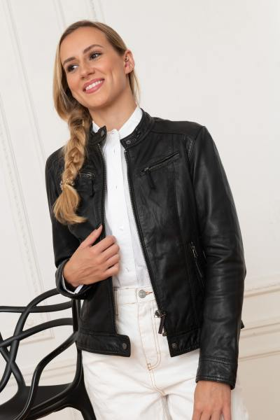 Schwarze Jacke aus echtem Leder