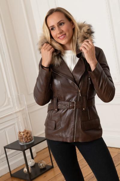 Waschbär-Mantel aus Lammleder und Pelz