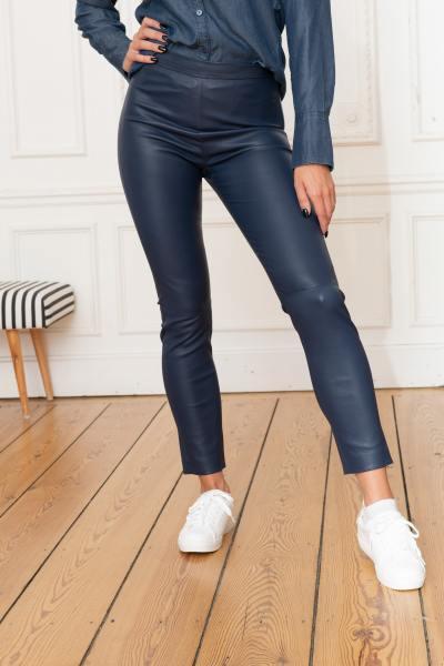 Stretch-Leder-Leggings blau Cityzen