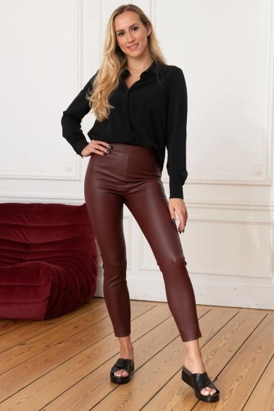 Legging burgundy Leder Stretch für Frau
