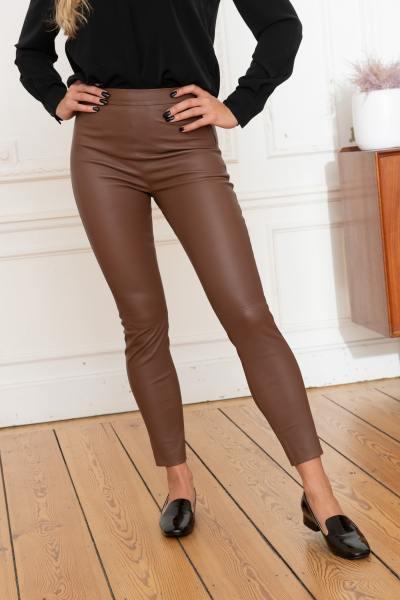 Braune Lederleggings für Frauen