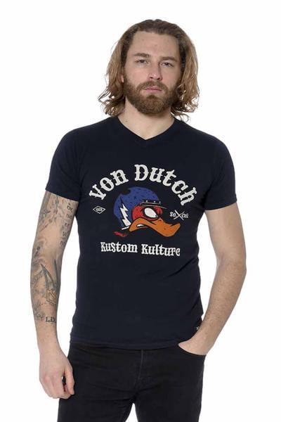 """Tee-shirt noir col V """"Kustom Kulture"""""""