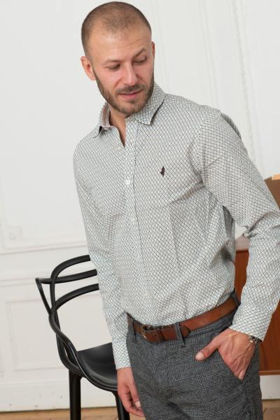 Chemise à motif homme blanc et marron