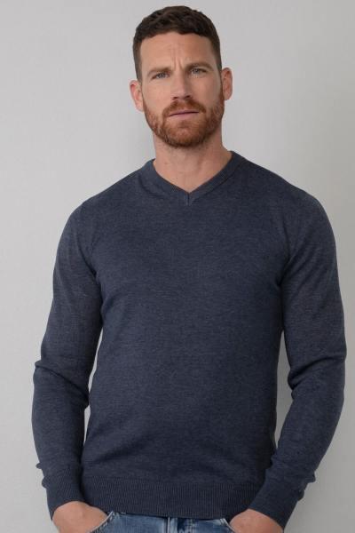 Marineblauer Pullover mit V-Ausschnitt für Männer