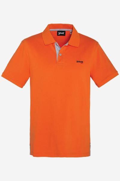 Poloshirt in Heidekrautgrau und Orange