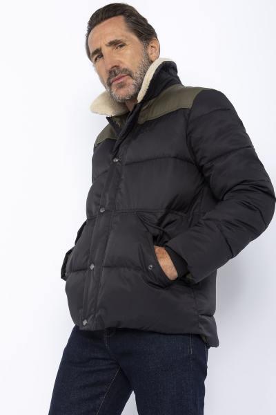 Doudoune noir et kaki avec col sherpa