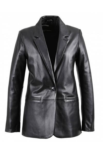 Blazer aus echtem Leder für Frauen in Schwarz