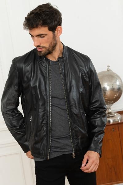 Blouson col rond en cuir véritable noir