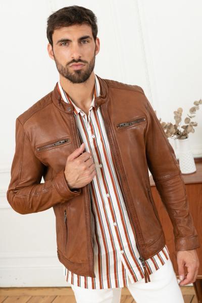 Blouson en cuir homme marron clair