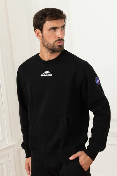 Schwarzer Baumwollpullover für Sportbekleidung