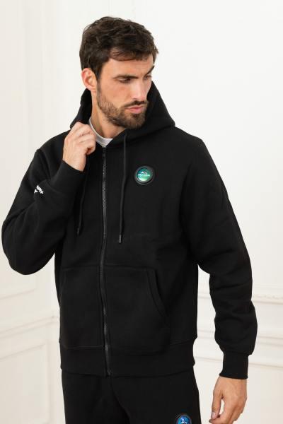 Schwarze Trainingsjacke mit Kapuze