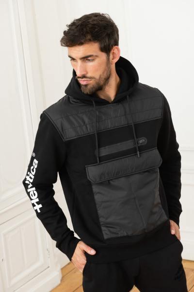 Zwei-Materialien-Kapuzenpullover für Sportbekleidung