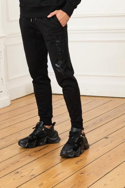 Schwarze Stretch-Sweatpants