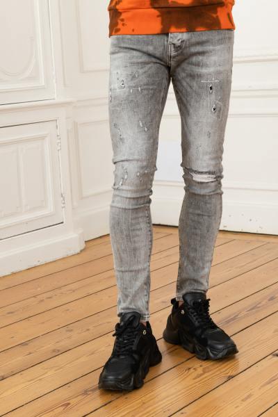 Jean skinny gris délavé destroyed