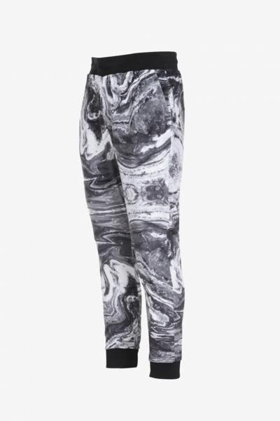 Graue bedruckte Velours-Sweatpants