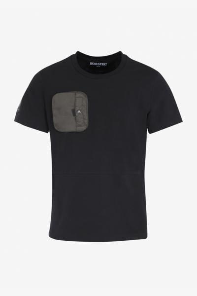 Tee-shirt noir avec poche poitrine kaki