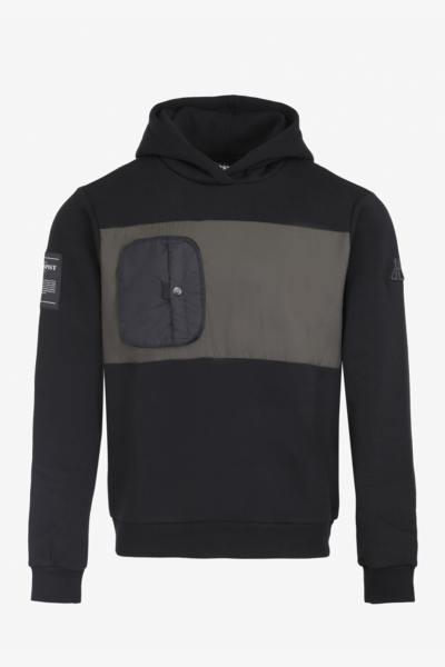 Schwarzes und khakifarbenes Kapuzensweatshirt