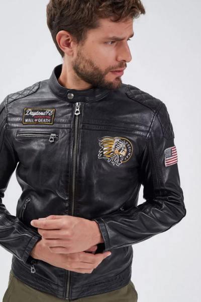Jacke aus pflanzlichem Lammleder mit Biker-Kragen