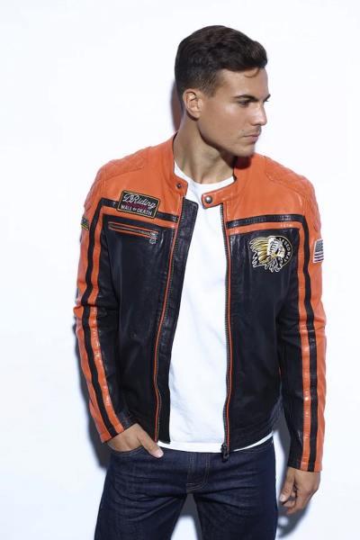 Blouson en cuir esprit motor orange et noir
