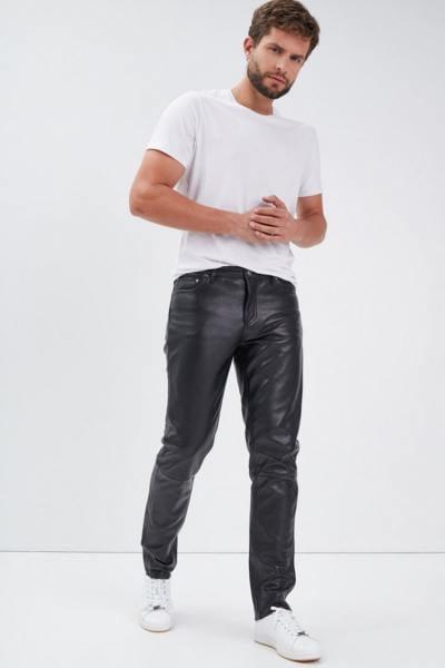 Regular Fit Hose aus glänzendem Rindsleder