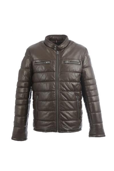 Braune mittellange Jacke aus echtem Leder