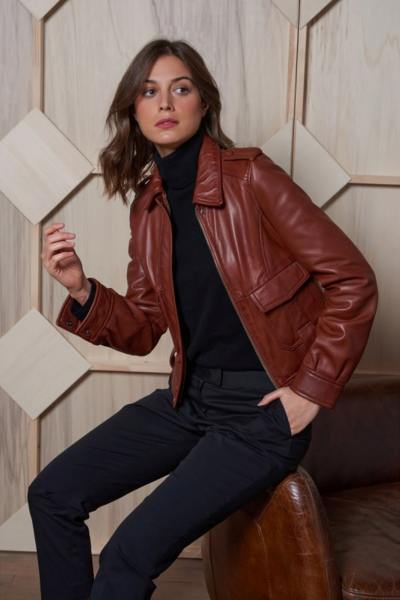 Pilotin inspirierte hellbraune Lederjacke für Frauen
