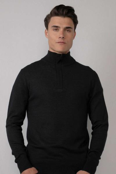 Feinstrick-Pullover mit schwarzem Stehkragen