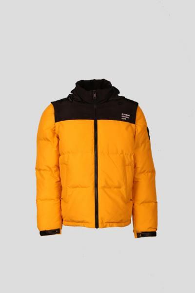 Gelbe und schwarze Daunenjacke mit abnehmbaren Ärmeln