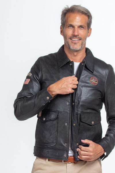 Blouson en cuir noir édition Steve McQueen