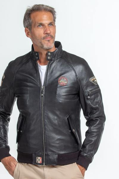 Blouson en cuir noir signature Steve McQueen