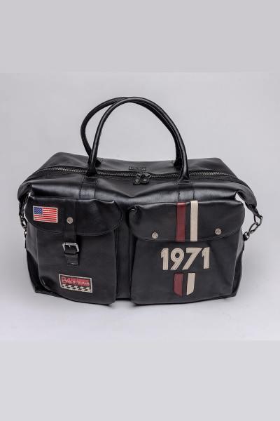 Sac de voyage en cuir vintage noir édition McQueen
