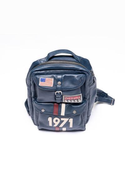 Racing Spirit Rucksack aus navy blauem Leder