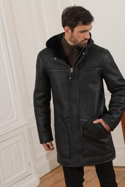 Long manteau d'hiver en mouton retourné