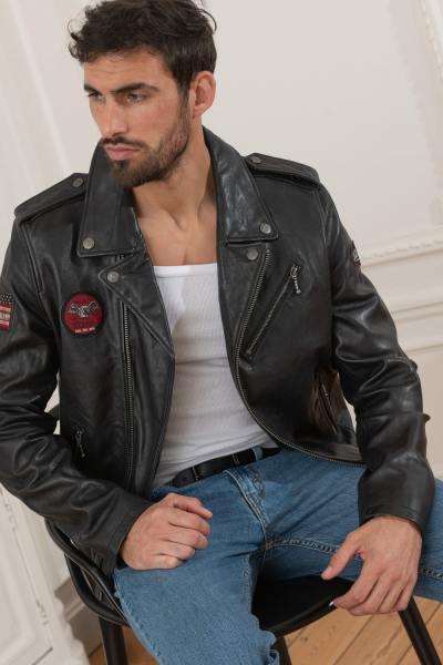 Schwarzer Biker-Perfecto aus echtem Leder