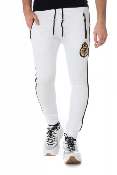 weiße Herren Trainingshose mit schwarzen Streifen