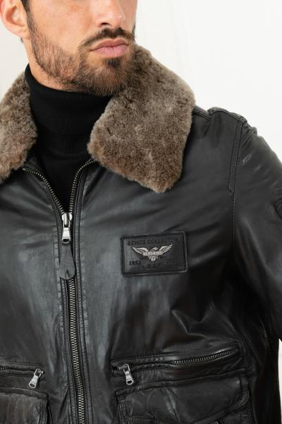 Fliegerjacke aus schwarzem Leder Sammleredition 60 Jahre PAF