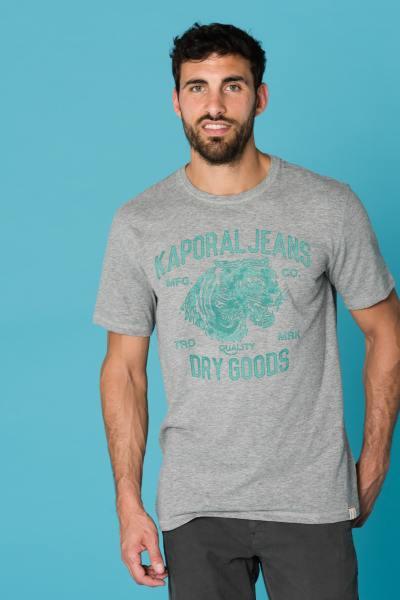 graues Herren T-Shirt mit grünen Tiger-Motiv
